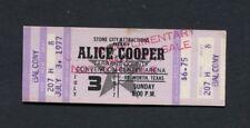 1977 Alice Cooper Unused Concert Ticket Fort Worth Texas Silver Screen