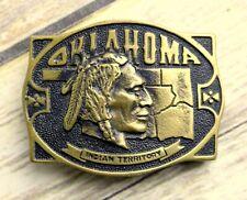Oklahoma Indian Territory Belt Buckle Brass Heritage Mint 1976 OK Native America
