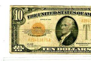 "$10 ""GOLD CERTIFICATE"" 1928  $10 (GOLD CERTIFICATE) 1928 RARE!!!!  NICE NOTE!!!!"