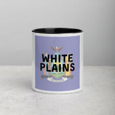 White Plains New York State Flag Background Coffee Mug with Color Inside