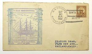 1933 US Frigate Constitution Santa Cruz Ship Cancel First Day Cover Scott #576