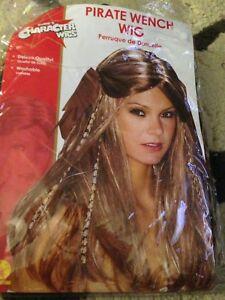 Pirate Wench Women's Dark Blonde Brown Streaks Highlights Costume Wig Halloween