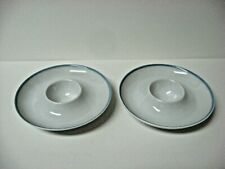 Lot 2 very fine china round eggcups egg cup/ dish blue rim Arzberg Germany