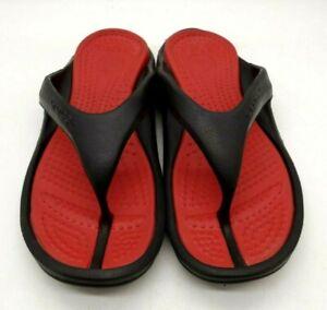 Crocs Logo Black Red Casual Slide Flip Flop Sandals Shoes Men's 10