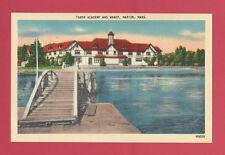 Marion Massachusetts Ma Tabor Academy And Wharf Vintage Old Linen Postcard
