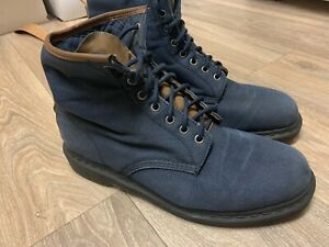 DR MARTENS ICONIC 1460 BLUE CANCAS BOOTS SIZE UK 12 With Leather Trim