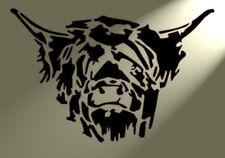 Shabby Chic Highland Cow head Stencil Vintage A4 297x210mm Wall or furniture dG