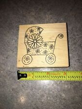 Wooden Rubber Stamp The Artful Stamper Floral Girl Baby Carriage Announcement