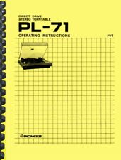 Pioneer PL-71 Turntable OWNER'S MANUAL and SERVICE MANUAL
