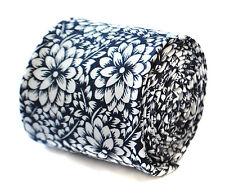 Thomas Frederick Uomo Skinny Biancheria Navy Blue Tie With White Floral Design ft1902