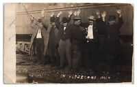 RPPC Hands Up in Pipestone, MN Real Photo Postcard