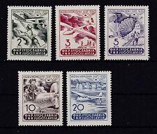 Jugoslawien 1950 postfrisch MiNr.  611-615  Flugpost-Woche, Ruma.