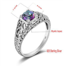 925 Sterling Silver June Birthstone rings Mystic topaz Victorian Gift Size 5-10