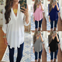 Women Chiffon Blouse Tee Shirt Long Sleeve T-shirts Casual V Neck Tops Plus Size