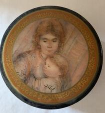 Vintage Black/gray marble trinket jewelry box w/ Lid mother/child signed Hibel
