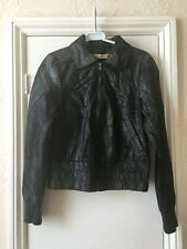 Vero Moda Jeans asta short leather coat jacket silver black size M