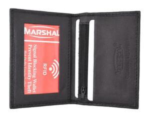 RFID Blocking Black Men's Leather Bifold Wallet ID Front Pocket Card Holder+++