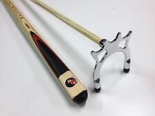 Full Ash With Red Wood WOODEN POOL SNOOKER BILLIARD CHROME Cue Spider