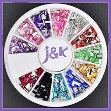 12 Colors Oblong Crystal Nail Art Decoration Glitter Rhinestones + Wheel ND0017