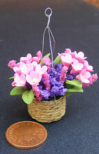 1:12 Scale Hanging Basket With Purple & Pink Flowers Tumdee Dolls House D1632