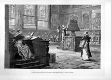 Stampa antica FIRENZE Coro di Santa Maria Novella monaci 1880 Old print Florence