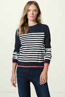 MARKS & SPENCER Womens Plus Size Striped Pullover Sweater Navy White Pink Trim