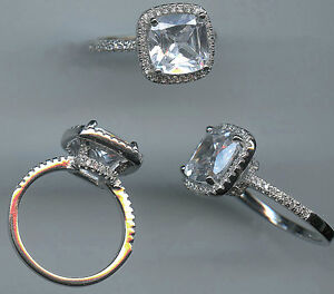 925 STERLING SILVER 5 CT TW CUSHION CUT CZ SOLITAIRE HALO ENGAGEMENT RING SZ 5.5