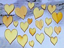 Wholesale Natural Wood Mixed Sizes Valentines Heart Cabochon's BurlyWood 10pcs.