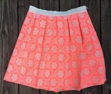 BODEN Ariana Womens 10 Skirt Pleated Floral Jacquard Tropical Peach D8