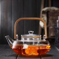 Teapot For Teas And Coffee With Bamboo Handle Classic Clear Glass With Strainers