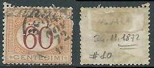 1870-74 REGNO SEGNATASSE USATO 60 CENT - R44-10