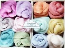 12 Colori Pastello & Merino Lana Shetland Roving/Tops/ago a Maglia, 60g