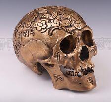 Bronze Cast 1:1 Kapala Carved Human Skull Tibetan Buddhism Tai Chi Cloud D93