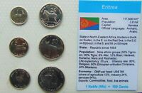 1990,S ERITREA, Set of 6 GEM UNCIRCULATED COINS in a see through container.