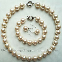 Hot 12mm White South Sea Shell Pearl Necklace bracelet Earrings Jewelry Set