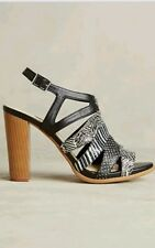 Anthropologie by Farylrobin Eve Cutout Heel Sandal Black/White Leather 7.5 $180