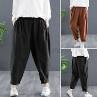 UK Womens Cotton Elastic Waist Chino Pants Casual Loose Baggy Straight Trousers