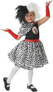 Girls Cruella De Vil/Ville Official Disney 101 Dalmations Fancy Dress Costume