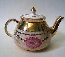 Vintage GIBSONS Staffordshire Tea Pot Great GOLD TRIM Pink Flowers