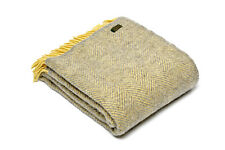 TWEEDMILL TEXTILES SOFA BED THROW BLANKET  100% PURE WOOL - LEMON & SILVER GREY