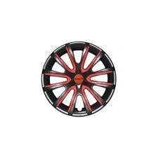 """4 Copricerchi auto universali FARAD coppa ruota  nero con inserti rossi 15"""""""
