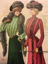 1901 Edwardian Art Nouveau Fashion Ladies Antique poster vintage Print Page