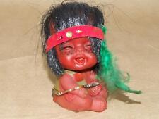 "Vintage Baby Native American Skwa Rubber Doll Yukon Souvenir 3 3/8"""