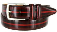 "Lejon 12374 Vintage Italian Leather Calfskin 1-3/8"" Wide Burgundy Dress Belt NEW"