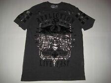 AFFLICTION Mens SS T Shirt XLARGE XL black gray MMA LIVE FAST FREE SPIRIT eagle