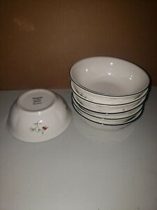 """Pfaltzgraff Winterberry SIX Soup Cereal Bowls 5-7/8"""" Green Holly Red White Berry"""