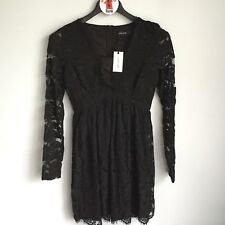 Liza Luxe Modcloth Black Lace Long Sleeve Elegant A-Line Dress Size S Lined NEW