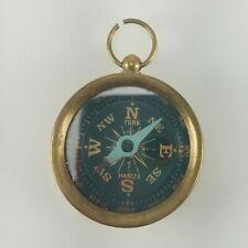Vintage York Hamza Brass Compass Pendant Pre-Owned WORKS Antique