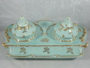 ANTIQUE HAND DECORATED PORCELAIN INKWELL w/ TWO INSERTS & BUILT-IN PEN TRAY