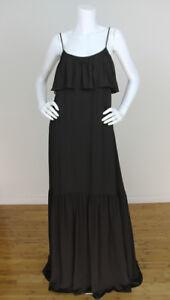 Elizabeth & James NEW Sz 4 Dark Brown Silk Chiffon Tiered Bust Long Maxi Dress